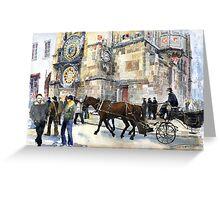 Prague Old Town Square Astronomical Clock or Prague Orloj Greeting Card
