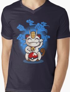 Lucky Meowth Mens V-Neck T-Shirt