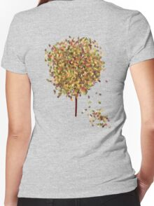 Falling Leaves T-Shirt Women's Fitted V-Neck T-Shirt