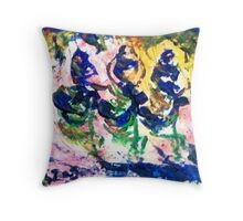 Three crazy beduines dancing on their camels in the desert Throw Pillow