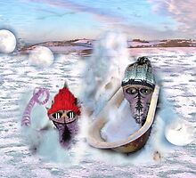 Betelgeuse, Mintaka and the snow spirit playing in the snow by Kasia B. Turajczyk