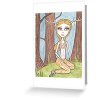 Golden Fawn, fantasy big eyes satyr Greeting Card