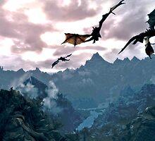 dragon over the mountain by autrouvetout