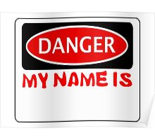 "DANGER MY NAME IS ""BLANK - INSERT YOUR OWN WORDS WITH A BLACK TEXTA WHEN YOU GET THE DESIGN"", FUNNY FAKE SAFETY SIGN Poster"