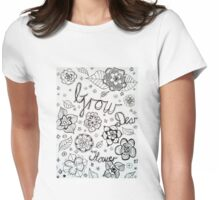 Grow Dear Flower doodle in black and white Womens Fitted T-Shirt