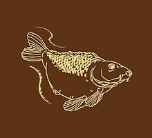 Carp Fishing Lake Hand Drawn Illustration Wildlife by CreativeTwins
