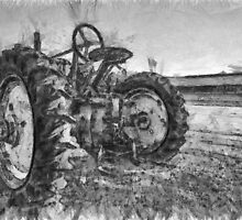 Day is Done Vintage Tractor Pencil by Edward Fielding