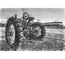 Day is Done Vintage Tractor Pencil Photographic Print