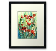Poppies Watercolor Framed Print
