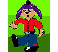 dancing boy with purple hat Photographic Print