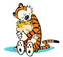 calvin and hobbes cartoon Photographic Print