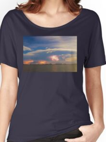 Lightning at Sunset with Star Trails Women's Relaxed Fit T-Shirt