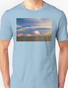Lightning at Sunset with Star Trails Unisex T-Shirt