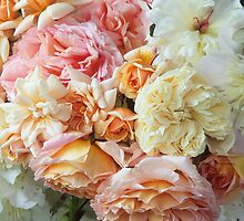 Peaches & Cream Roses, Detail #1 by Suzanne Lewis