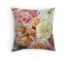 Peaches & Cream Roses, Detail #1 Throw Pillow