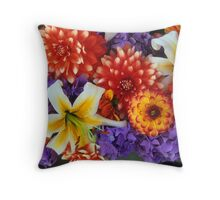 Clearly Summer, Dahlias & Lily #3 Throw Pillow