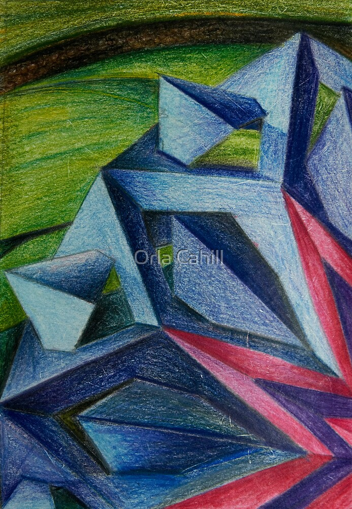 Abstract Geometric Flower by Orla Cahill