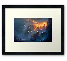 fantasy landcape - mountain village Framed Print