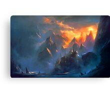 fantasy landcape - mountain village Canvas Print
