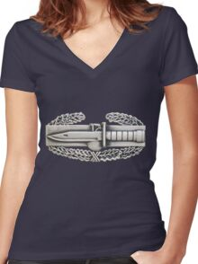 Combat Action Badge Women's Fitted V-Neck T-Shirt