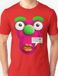 Funny Stomach Puppet - Stop staring at my Boobs! T-Shirt