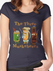 Funny Beer Pun Three Muskebeers Women's Fitted Scoop T-Shirt