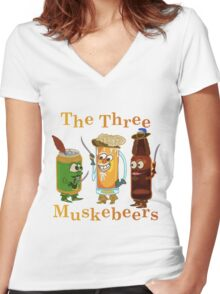 Funny Beer Pun Three Muskebeers Women's Fitted V-Neck T-Shirt