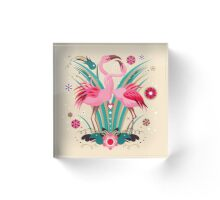 LOVE & FLAMINGO  Acrylic Block