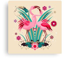 LOVE & FLAMINGO  Canvas Print