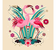 LOVE & FLAMINGO  Photographic Print