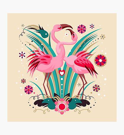 LOVE & FLAMINGO  Photographic Print