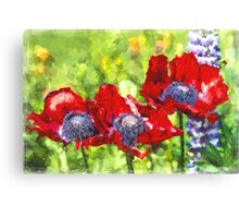 Impressionist Style Red Poppies - Poppy Fields - Remembrance - Flanders - Impressionism Canvas Print
