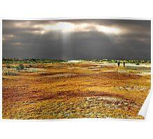 Autumn walk on the beach Poster