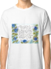 Marriage Vows handwritten blue hydrangea artwork Classic T-Shirt