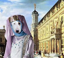 Bull Terrier Art - Renaissance Palace with young Princess by NobilityDogs