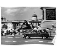 London Cab in Trafalgar Square, London, UK Poster