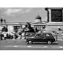 London Cab in Trafalgar Square, London, UK Photographic Print
