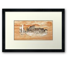 York Minster Panoramic on wood texture Framed Print