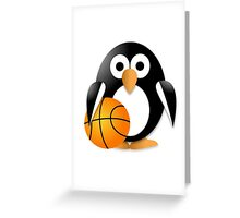 Penguin with a basketball ball Greeting Card