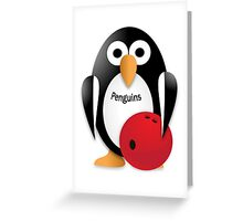 Penguin with bowling bow Greeting Card