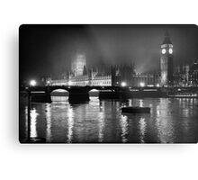 Westminster Palace, A Foggy Winter Night, London, UK Metal Print