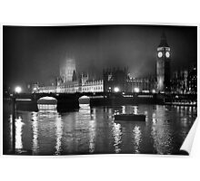 Westminster Palace, A Foggy Winter Night, London, UK Poster