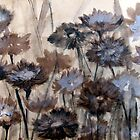 Wild Paper Daisies on brown paper by Adriel Knowling