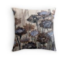 Wild Paper Daisies on brown paper Throw Pillow