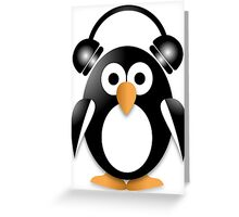 Penguin with headphones Greeting Card