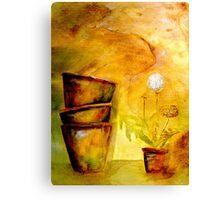 Still Life with Old Dandelion Stencil and Terracotta Pots Canvas Print