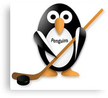 Penguin with hockey stick Canvas Print