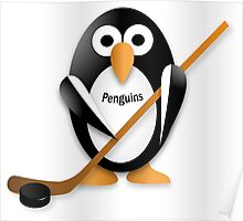 Penguin with hockey stick Poster