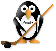 Penguin with hockey stick Photographic Print