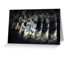Kaleidoscope-reflections of sun and clouds in the glass facade Greeting Card
